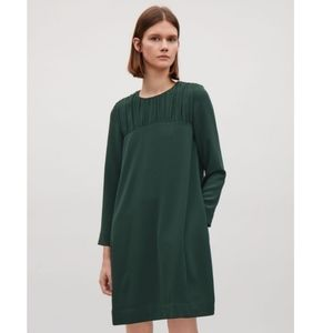 COS Cocoon Smock Mini Forest Green Dress Size 6.